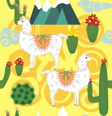 seamless pattern with cute cartoon llama alpaca with cactus and design elements on pink background in flat cartoon style.