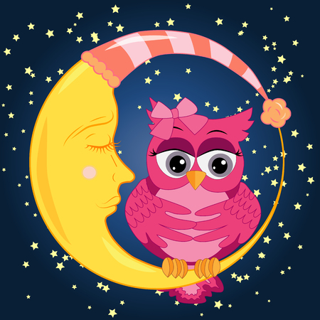 A sad lonely pink cartoon owl with a bow can not sleep at night, sitting on a sleeping moon among the stars. Concept of insomnia Vector illustration.
