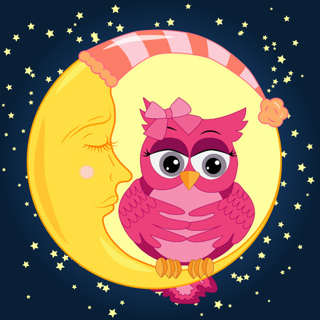 A sad lonely pink cartoon owl with a bow can not sleep at night, sitting on a sleeping moon among the stars. Concept of insomnia