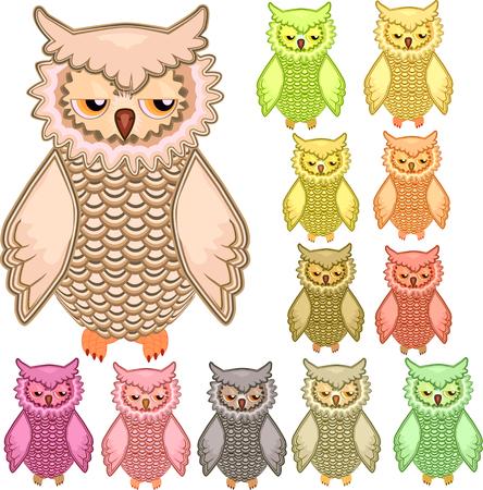 Set of twelve colourful vector owls isolated on white background Ilustração