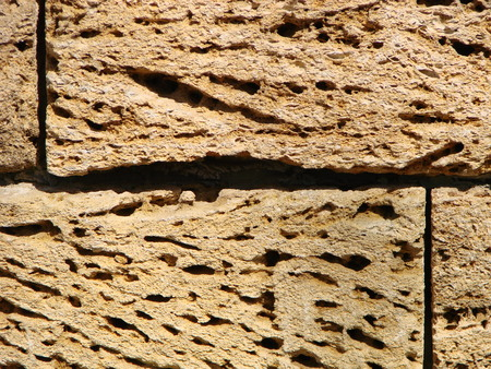 Brickwork of shell rock. Background structure. Wall.