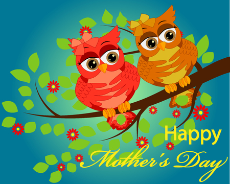 mother's day greeting card vector with owl graphic