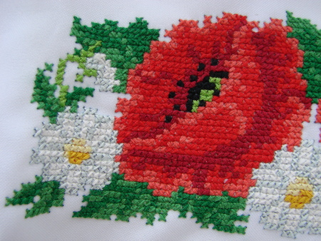 fragment embroidery flower pattern handmade embroidery, pattern in cross style
