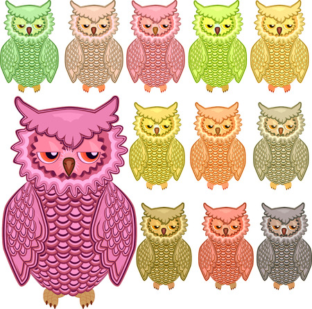 Set of twelve colorful vector owls isolated on white background