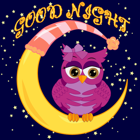 A sweet cartoon pink owl in a sleeping cap relaxes sitting on a sleeping sickle of the moon among a dark night sky and stars Illustration