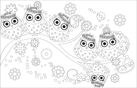 Coloring book with cute owl and floral. Illustration