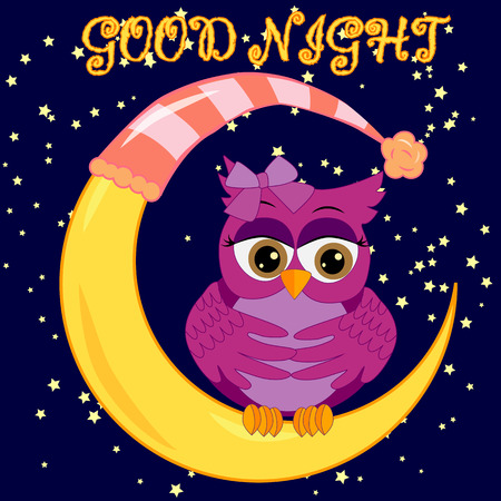 A sweet cartoon pink owl in a sleeping cap relaxes sitting on a sleeping sickle of the moon among a dark night sky and stars Stock Illustratie
