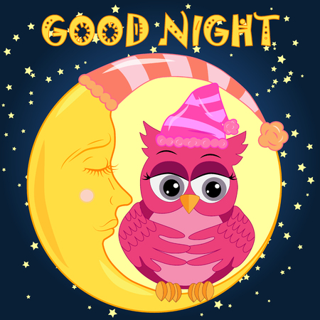 A sad lonely pink cartoon owl sitting on a sleeping moon with stars in the background. Illustration