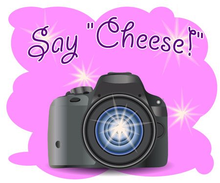Realistic modern CAMERA on a pink background with flashes, digital photo camera, photographer equipment. Inscription Say Cheese Illustration