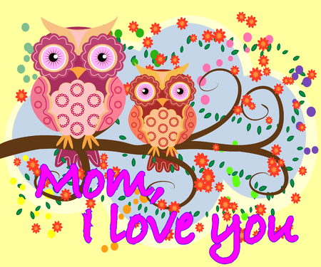 Mother's day owl, cute illustration of happy mother and kid owl sitting on tree branch.