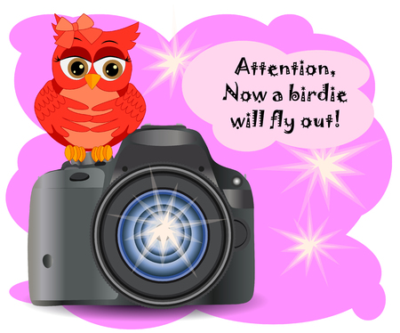 The owl sits on the Start button of a realistic, modern camera, on a pink background with flashes of copy space. Inscription Attention, the birdie will fly out right now 向量圖像