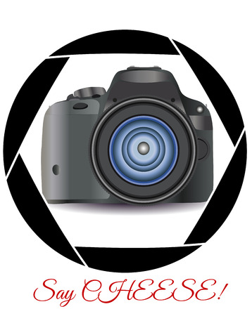 A realistic modern camera in the frame of the camera's diaphragm. Concept photography, vocations, photo business, inscription say cheese. Illustration