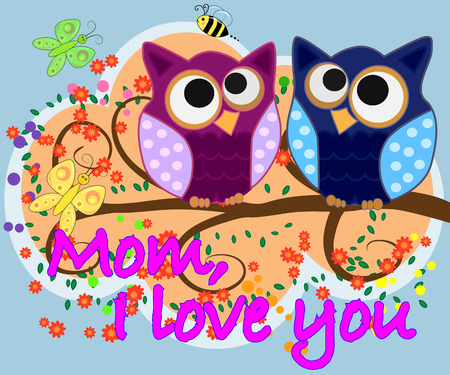 Mom, i love you. mother day greeting card vector with owl graphic Illustration