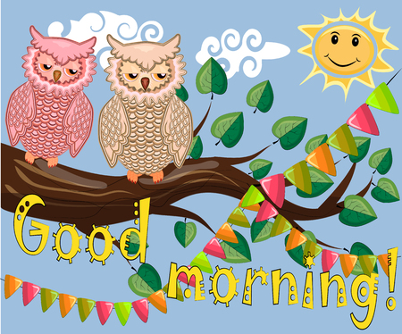 An unhappy, sleepy owl on a tree branch in the morning, the sun shines and smiles. Inscription Good morning. Morning, breakfast Vettoriali
