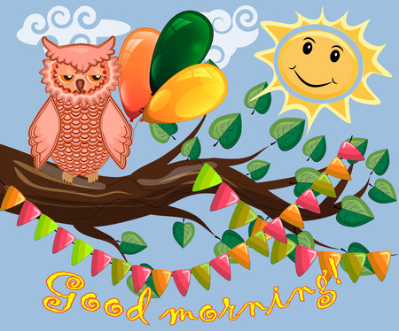 An unhappy, sleepy owl on a tree branch in the morning, the sun shines and smiles. Inscription Good morning. Morning, breakfast Vectores