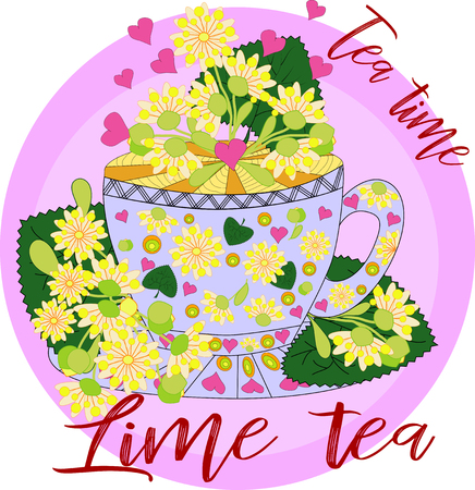 Tea made from linden. Tea cooked with love. Hand drawn design element