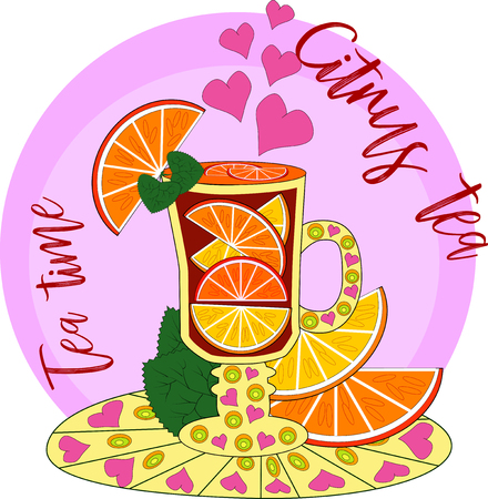 Citrus tea, cooked with love. Glass with mulled wine, hot tea with orange, lemon, citrus. Hand drawn illustration. The inscription being tea, citrus