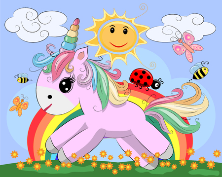 A little pink cute cartoon Unicorn on a clearing with a rainbow, flowers, sun. Postcard, spring, magic