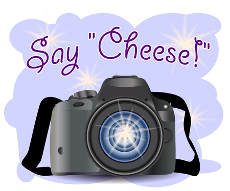 Realistic modern CAMERA on a blue background with flashes, , digital photo camera, photographer equipment. Inscription Say cheese Illustration