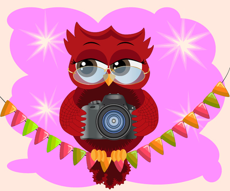 A red flirtatious cartoon owl sits on a garland of flags with a camera and photographs. Photographer, paparazzi, reportage Illustration