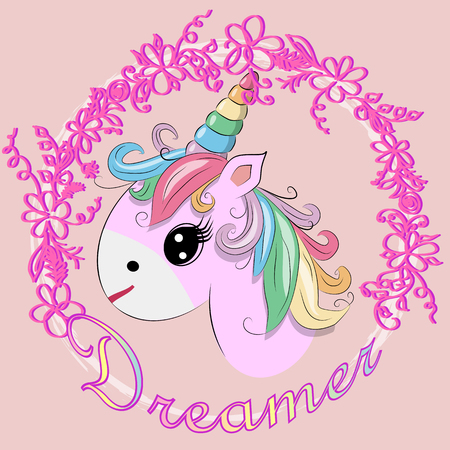 Unicorn vector illustration drawing with rainbow writing Dreamer. Unicorns head cartoon