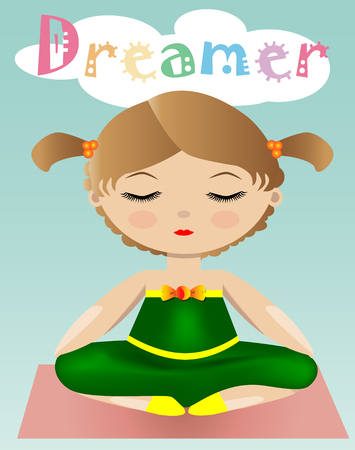 A sweet girl in a green suit is sitting and dreaming with her eyes closed. The inscription Dreamer
