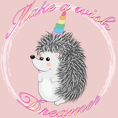 A cute cartoon hedgehog with a unicorn horn. Inscription dreamer. Concept everyone can be a unicorn