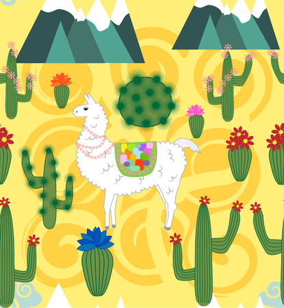 seamless pattern with cute cartoon llama alpaca with cactus and design elements in flat cartoon style.