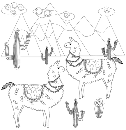 Coloring Page Of Cartoon Lama Lama Coloring For Adults And