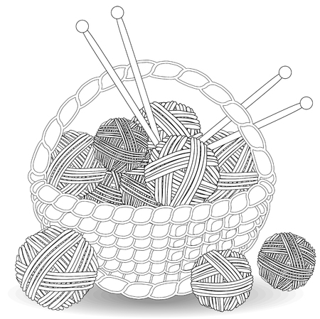 Basket with tangles of balls of wool. Coloring for adults and children Illustration