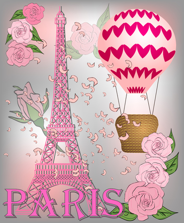 Vintage France poster design. romantic background with Eiffel tower and roses. Inscription Paris Иллюстрация