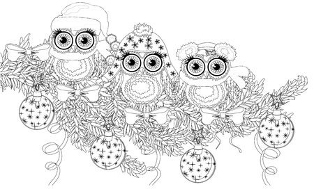 Coloring book page of owl and christmas tree for adult and old children. Zentangle style.
