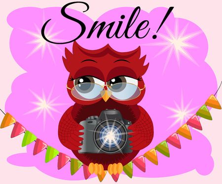 A red flirtatious cartoon owl sits on a garland of flags with a camera and photographs. Photographer, paparazzi, reportage. Inscription Smile