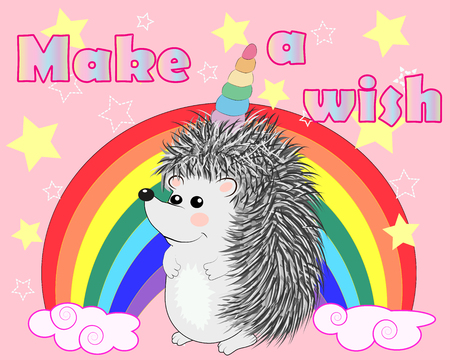 A cute cartoon hedgehog with a unicorn horn on a rainbow. Inscription Make a wish. Concept everyone can be a unicorn