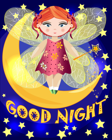 A cartoon, fairy fairy with a magic wand and transparent wings stands on the moon among the night sky and stars. Inscription Good night Illustration