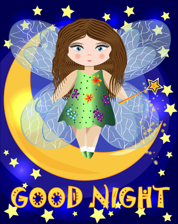 A cartoon, fairy fairy with a magic wand and transparent wings stands on the moon among the night sky and stars. Inscription Good night Vectores