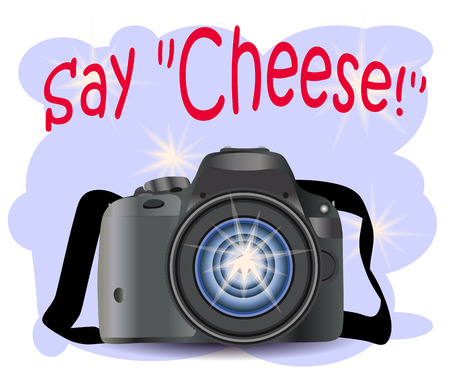 Realistic modern CAMERA on a blue background with flashes, , digital photo camera, photographer equipment. Inscription Say cheese Stock Illustratie