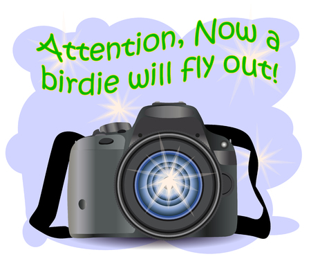 Realistic modern CAMERA on a blue background with flashes, photographer equipment. Inscription Attention, the birdie will fly out right now