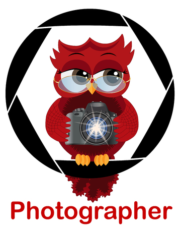 A beautiful cartoon red owl with a camera sits on the camera's diaphragm. Concept photography, vocations, photo business. Inscription Photographer Illustration