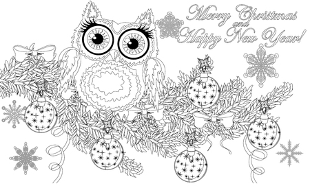 Coloring book page of owl and christmas tree for adult and old children.