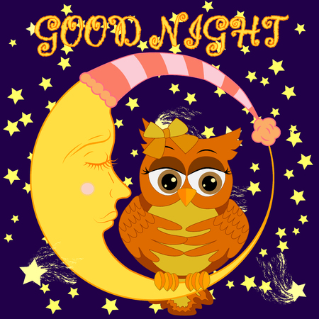 A sweet cartoon pink owl in a sleeping cap relaxes sitting on a sleeping sickle of the moon among a dark night sky and stars Vectores