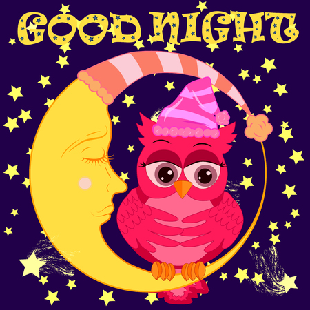 A sweet fairy-tale pink owl in a hat for dream dreams, sings a lullaby, lulls the sky, the moon and stars sitting on a sleeping sickle of the moon among a dark night sky and stars