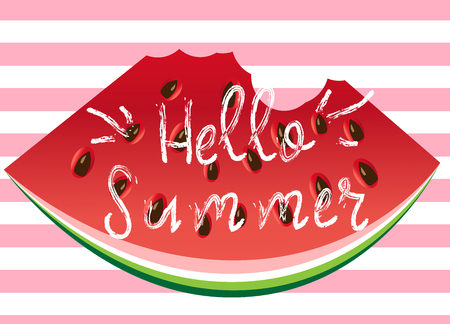 Hello summer greeting card, poster, print. Vector typographical background with watermelon slice abstract paint texture.