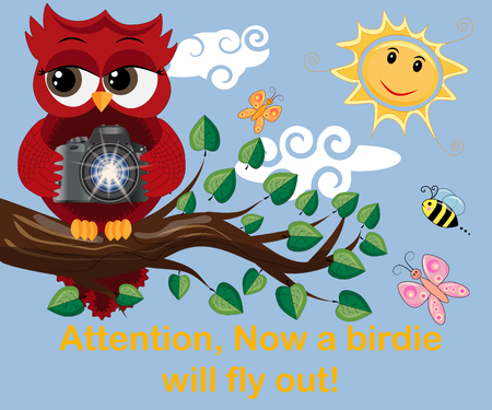 Red Owl-photographer in glasses sits on a tree branch on a clear sunny day and makes a report, photos. Inscription Attention, the birdie will fly out right now