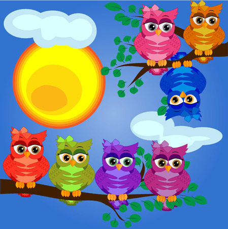 bright, cartoon, lovely, colorful owl-girls on a branch of a tree. Morning, breakfast