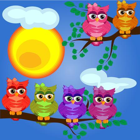 brillantes, caricaturas, encantadoras y coloridas búhos-niñas en una rama de un árbol. Mañana, desayuno