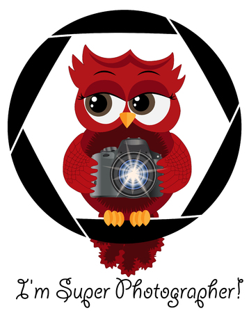 A beautiful cartoon red owl with a camera sits on the camera's diaphragm. Concept photography, vocations, photo business. Inscription I'm a super photographer