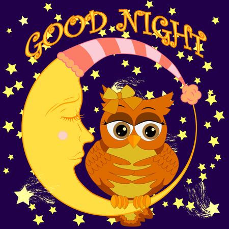 Good night card with sleeping moon and cute owl. Cute cartoon owl coquettish sitting dormant on the crescent against the night sky with stars