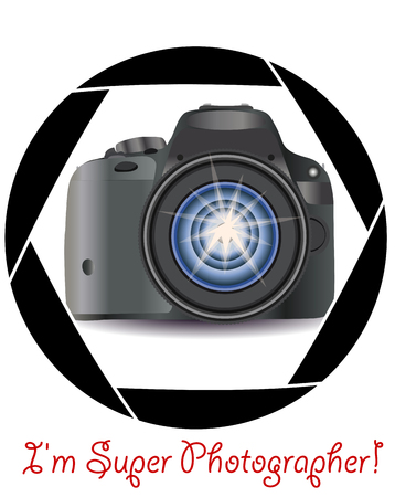 A realistic modern camera in the frame of the cameras diaphragm. Concept photography, vocations, photo business Stock Illustratie