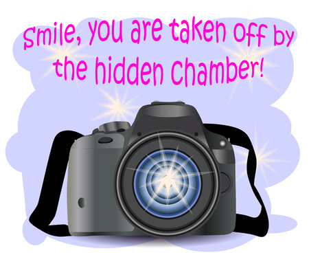 Realistic modern CAMERA on a blue background with flashes, photographer equipment. Inscription